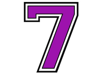 iron on transfer purple number # 7 for tshirt, instant download
