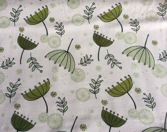 Jersey Fabric Green Flowers