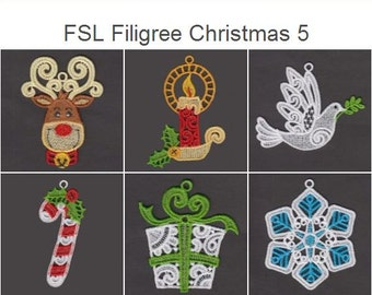 FSL Filigree Christmas 5 Free Standing Lace Christmas Ornament Machine Embroidery Designs Instant Download 4x4 hoop 10 designs APE2382