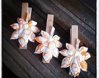 set of 3 clothespins wooden Leafs