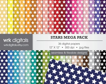 Stars Mega Pack Seamless Digital Paper Pack, Digital Scrapbooking, Instant Download, Geometric Patterned Paper
