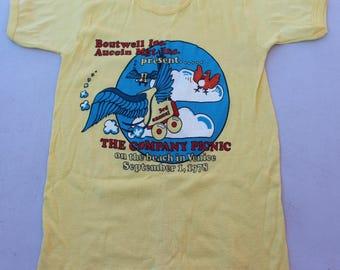 Rare Vintage 1978 Casablanca Records & Filmworks Employee Company Picnic T-Shirt Boutwell Inc. Yellow Small S