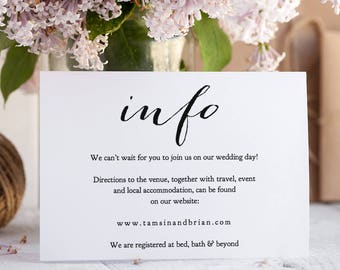 Printable Information Card, Wedding Details Card, Instant Download Info Details Card Printable, Sweet Bomb | Edit in WORD or PAGES