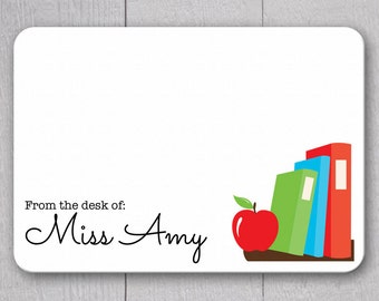 Teacher Note Cards - 24pk, Personalized Flat Note Cards, Teacher Gifts, Printed without Envelopes (NC-002)