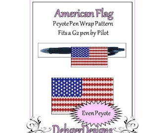 Peyote Beading Pattern (Pen Wrap/Cover)-American Flag