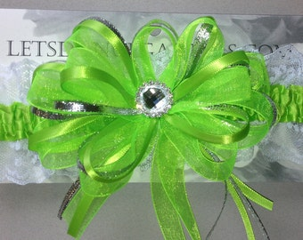 Bright Green Silver Prom Homecoming Garter with lace