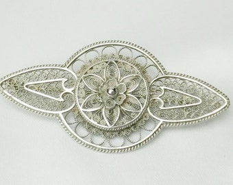 Sterling silver filigree brooch, filigree brooch, silver filigree brooch, filigree brooch, Sterling silver brooch, filigree, vintage brooch