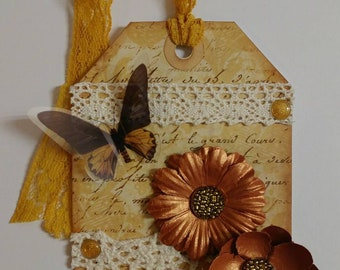 Gold gift tag, copper tag, butterfly, flower tag
