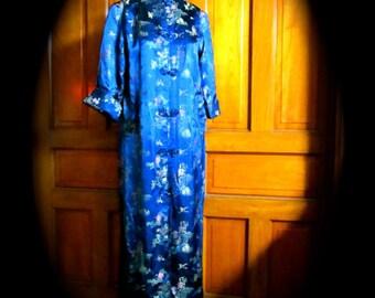 Chinese robe, long brocade robe, Asian robe, full length Chinese coat,  size 8 to 10 Chinese robe, royal navy satin chinese robe