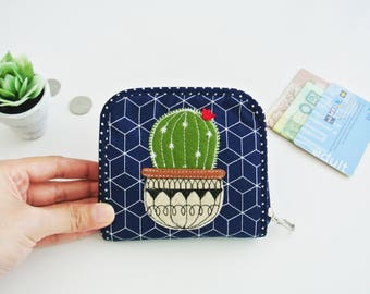Cactus Lovers(C) Mini Wallet, Small Bi-fold Organizer Wallet, Zipper Coin Wallet, Fabric Coin Purse, Small Wallet, Gift for Her
