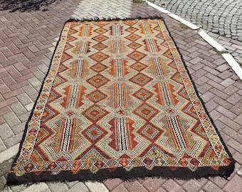 """Geometric pattern Kilim rug, 114.5"""" x 66"""", Vintage Turkish kilim rug, area rug, kilim rug, vintage rug, rug, bohemian rug, Turkish rug,729"""