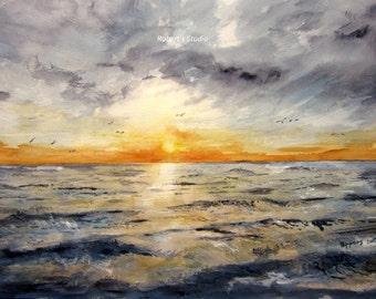 Watercolor Seascape archival print, landscape painting, ocean sunset, ocean painting, beach, nautical, sea gulls, watercolor art.