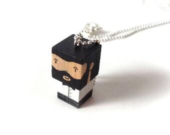 """Collier chaîne bille pendentif figurine cubique """"Barbu chic"""" noir et blanc"""