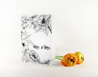 LGBT Wedding Card- Mrs and Mrs- Floral- hand drawn