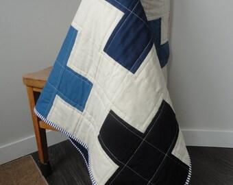 Baby Boy Plus Quilt in Blue, Black, Green and Cream Modern