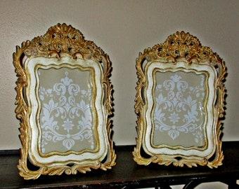 Picture Frames, Vintage, Baroque, Tabletop Frames, Gold and Ivory, Mediterranean, Wedding Frames, Hand Painted, Ornate Design