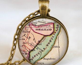 Somalia antique map necklace,Somalia map pendant, Somalia map jewelry , somalia africa map jewelry, map pendants by starmekcreations