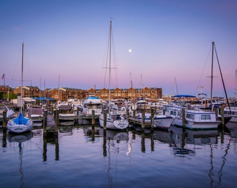 A full moon over boats docked at twilight, in Fells Point, Baltimore, Maryland. Photo Print, Metal, Canvas, Framed.