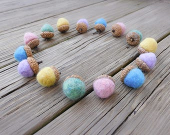 Pastel Spring Acorns, Set of 5 Wool Felt Ball Easter Bowl Fillers for Nature Table or Centerpiece Display