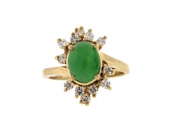 Vintage / Estate Diamond and Jade Cluster Ring