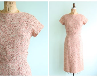 Vintage 1960's Pink Sage Flora Lace Dress | Size Small