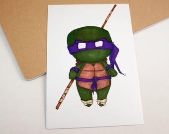 Mini Donatello - 4x6 Print [ TMNT  / Fan Art / Chibi ]