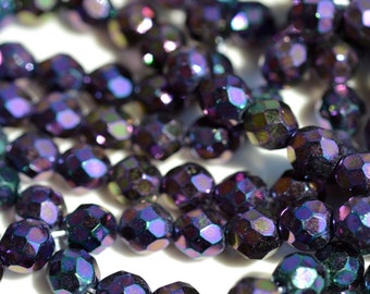 MARDI GRAS Purple Iris 10mm Faceted Fire Polish Round Czech Glass Beads   25