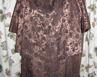 50s Brown Satin Floral Brocade Dress with Matching Cropped Jacket Vintage
