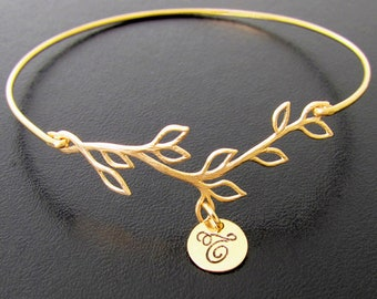 Bridesmaid Bracelet Gold Olive Branch Initial Bracelet with Cursive Font, Bridesmaid Jewelry Gold Plated Branch, Budget Bridesmaid Gift Idea