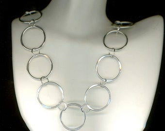 Circle Open Chain Necklace Sterling Silver Wire Necklace Link Circles