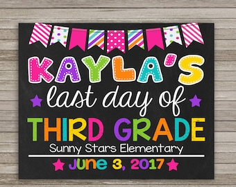 School Sign Last Day of Third Grade, Last day of School Chalkboard, ANY GRADE, School Sign, Digital Printable, Last Day of 3rd Grade
