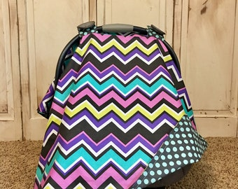 Orchid Chevy Carseat Canopy- Ready 2 Ship
