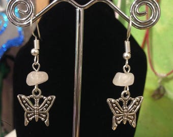 Butterfly and Rose quartz Earrings