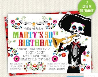 Sugar Skull Birthday, sugar skull invitation, Day Of The Dead birthday, Dia de los Muertos invitation, sugar skull party, sugar skull invite
