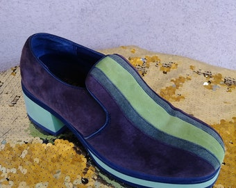 Vintage 1990s Mens Shoes Platforms 1970s Style Loafers Hush Puppies Mens US9.5