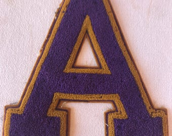 Vintage Chenille Letterman Patch Letter A - Gold and Purple