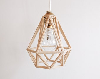 x3 Industrial Vintage Suspension / Light / Shade / Pendant Light cage wooden 3D printed Diamond
