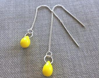 Bright Yellow Earrings •  Lemon drop earrings • Sterling Silver chain Threader earrings • Canary yellow dangle teardrop earrings • CUTE!