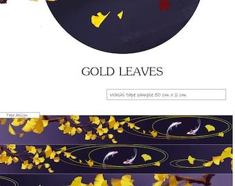 Gold leaves washi tape sample, washi tape fish. gold foil leaves, washi tape gold foil