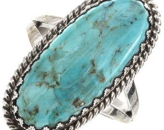 Kingman Turquoise Navajo Ladies Ring Sterling Single Stone Native American jewelry