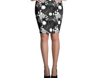 Chic Boho Skirt Black & White Floral Printed Skirt Bohemian Clothing Abstract Pencil Skirt