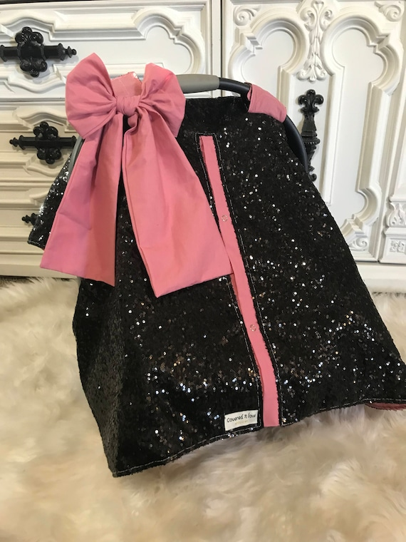 Black and Blush sparkle car seat canopy / carseat cover / carseat canopy / ooak / sequin / infant car seat cover / silver / sparkle