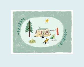 Happy Camper, illustration print