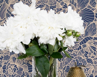 Flower Adhesive Wallpaper / Floral Removable or Regular Wallpaper / Blue Flower Wall Mural / Flower Wallpaper