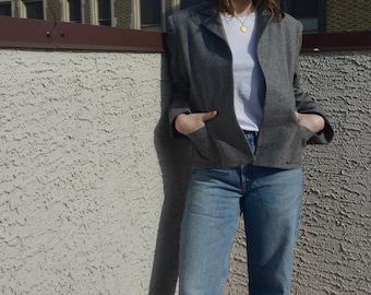 Vintage Wool Grey Open Blazer With Red Stripes, Size Small