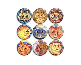 Louis Wain cats - pinback badge buttons or magnets 1.5""