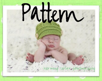 PDF Newsboy Hat PATTERN - Baby Newsboy Hat - Crochet Pattern - Newborn and 0 - 3 month Sizes -Crochet Newsboy Hat - by JoJosBootique