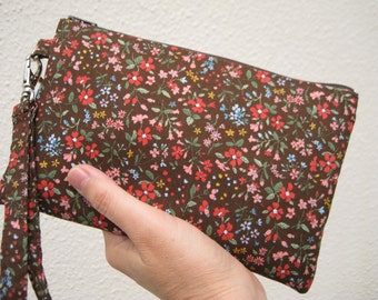 Wedding Clutch wristlet , 2 pockets,medium,bridesmaid,floral flowers, cotton - brown floral