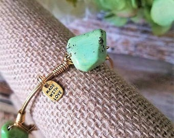 Green Chrysoprase Nugget Gemstone Bangle, Chrysoprase Gemstone, Green, Gemstone Bracelets, Bangle Stacks, Stack Stone Bangles, Stackable