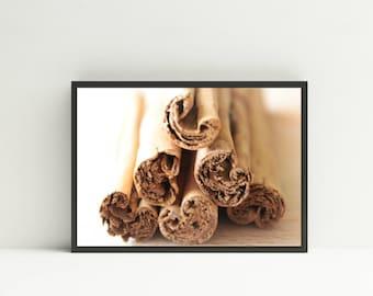 Cinnamon Sticks Photograph - Digital Download - Printable Art Gift - Cinnamon Kitchen Decor Downloadable Art Print Cinnamon Food Stock Photo